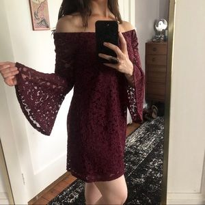 Merlot Bell Sleeve Dress